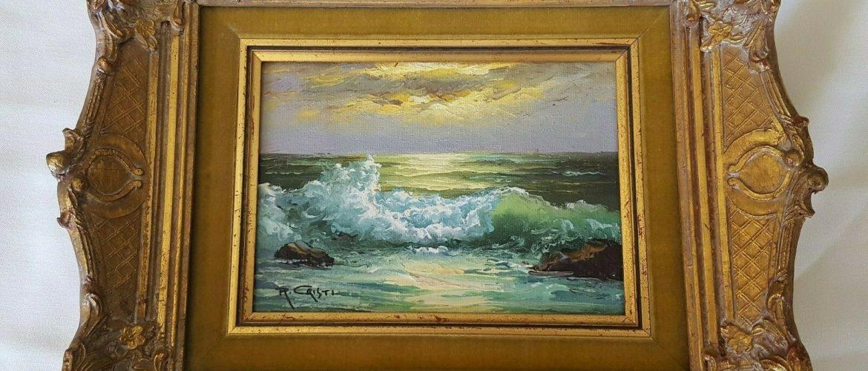 Beautiful Oil Painting By Italian Artist R. Cristi Scescape Ocean Wave Beautiful