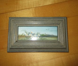 Miniature Framed Painting By Artist Kit Shoop   Sunflowers