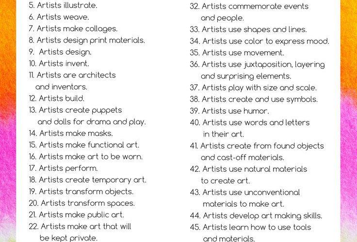 Huge Printable Art Advocacy List! What Do Artists Do?