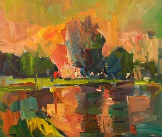 JOSE TRUJILLO NEW ART Sunset Impressionism Abstract Artwork Sky River PAINTING
