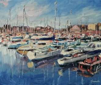 Sean Wu original oil painting landscape 11×14 on canvas panel