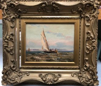 Antique Oil on Canvas Painting of People Sailing, Artist Signed