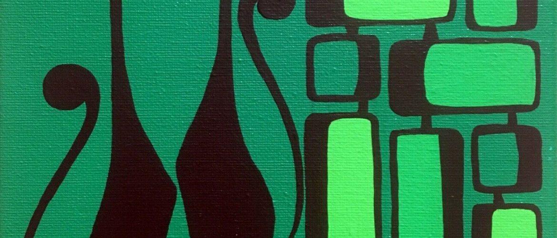 Clee Sobieski Painting Mid Century Modern Black Kitty Cat Retro Mod Atomic Pop