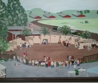 Painting Of Race Track, Horses And People, Signed