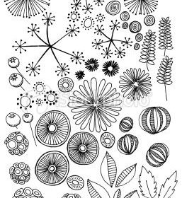 Abstract nature doodles: Stock photo description  Hand drawn doodles of natural …