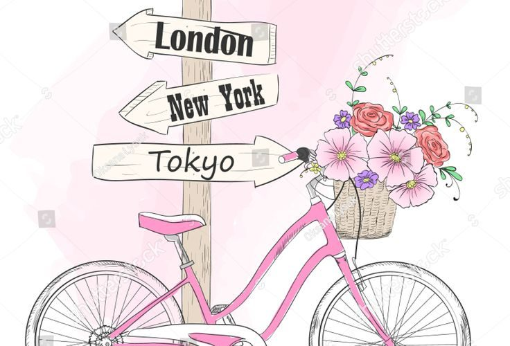 Bicycle with a basket full of flowers and signpost in the cities of the world. V…