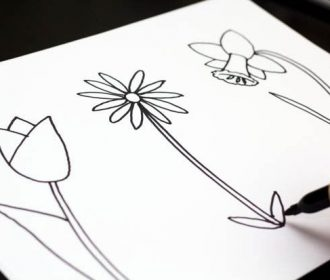 How to draw spring flowers – website that teaches kids how to draw by breaking d…
