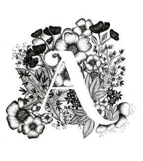 Letter A print – Alphabet, Calligraphy, Typography, Monogram, Flowers – Black an…