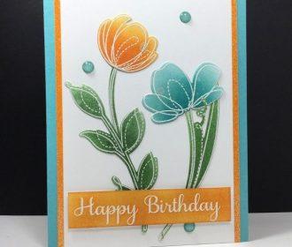 Spring Flowers: Simon Says Stamp, #SSSFAVE, embossing, sponging, flower sketch, …