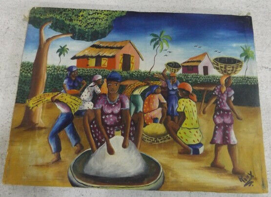 Vintage Rony Guerrier Haitian Oil Painting of village people