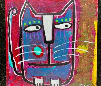 Tracey Ann Finley Original Outsider Folk Art Painting On Paper Melanie Kitty Cat