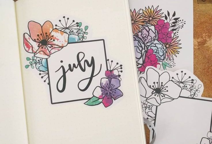 Bullet journal monthly cover page, July cover page, flower drawings. | @bujother…