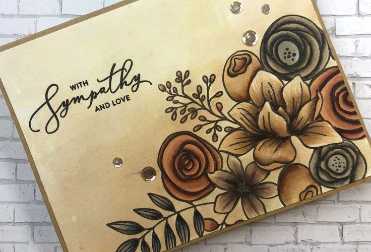 Courtney Kreber: Simon Says Stamp Sketched Flowers stamp set; watercolor with Di…