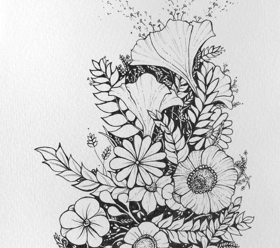Floral – flower drawing, black and white illustration