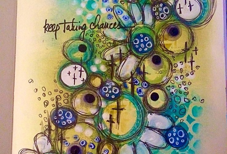 Keep taking chances – Playing in my art journal with a mix of distress inks, neo…