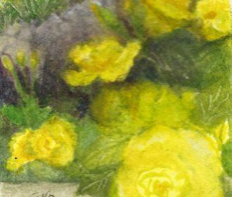 ACEO MINIATURE Original Watercolor Art Card by Eileen Garden Rose Flower Blooms