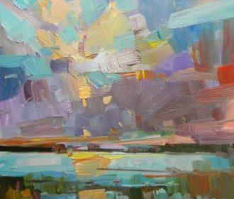 JOSE TRUJILLO Oil Painting 16×20 Clouds Sky Impressionism CONTEMPORARY ARTWORK