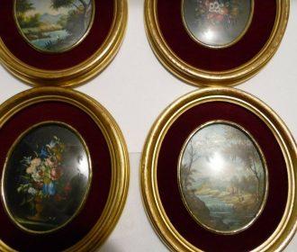 Guidotti Original 1934 Still Life Oil Paintings Set Of 4 5″x6″ Oval Frames #475