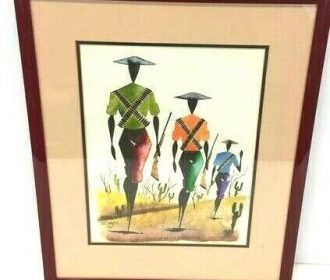 Beautiful Vintage Framed Water Color Painting of People Signed by Artist