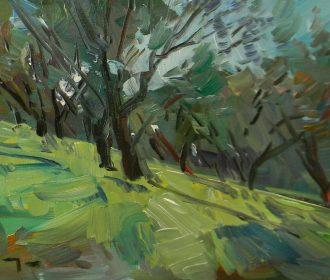 JOSE TRUJILLO Oil Painting 11X14 TREES GROVE ORCHARD LANDSCAPE MODERN ARTIST