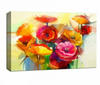 NWT Canvas Wall Art Beautiful Flowers Red Yellow Pink Painting Artwork for Home