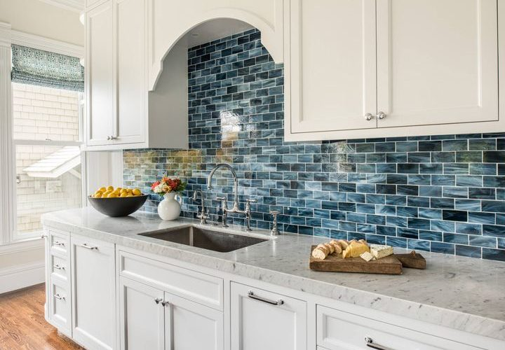 Artistic Designs for Living | Blue and White Kitchen with Beautiful Tile
