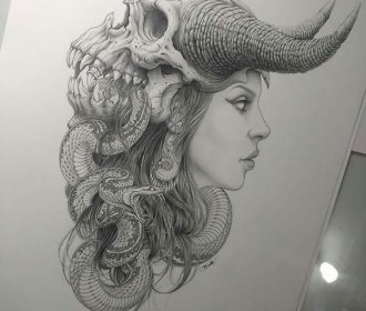 Black and White Sketches of a Tattoo – BeatTattoo.com