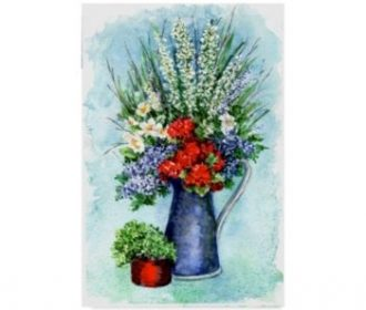 Sher Sester 'Patriotic Flowers Sketch' Canvas Art – 32″ x 22″ x 2″ – Mul…