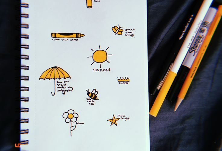 yellow aesthetic, doodles, quick and easy drawings, beginners, sketches, sunshin…