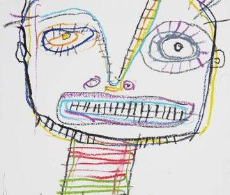 original Hughart outsider BASQUIAT WARHOL stye pop folk ART painting – THE CHILD