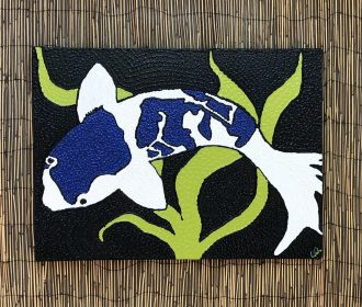 Koi Fish Textured Acrylic Painting Original Artwork On Canvas – Beautiful Colors