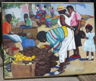 Original oil painting of black people at farmers market Edie Dunlap signed/frame