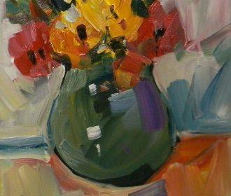 JOSE TRUJILLO Oil Painting ROUND VASE STILL LIFE IMPRESSIONISM ORIGINAL ARTIST