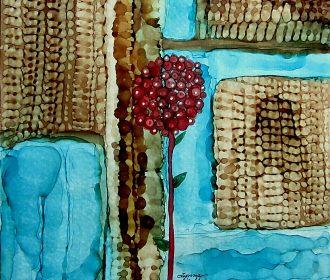 Original painting 8×8″ canvas board teal blue brown red flower by Lynne Kohler