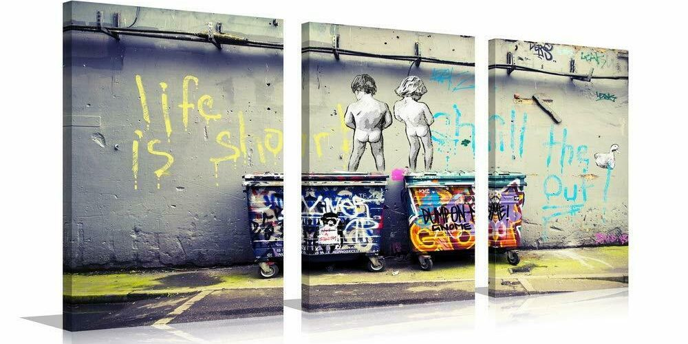 YPY Banksy Life is Beautiful Canvas Giclee Artwork 3 Panels for Modern Home D…