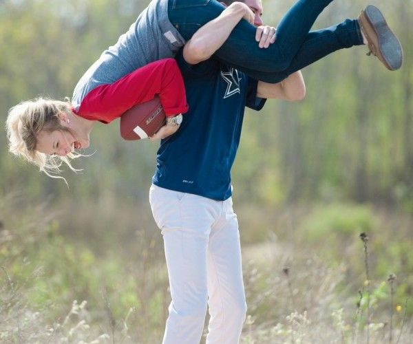Adorable Football Inspired Engagement Session | Photo by Matthew Moore Photograp…