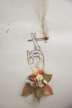 drawing art dope hippie weed marijuana smoke boho pot reefer mary jane high hand…