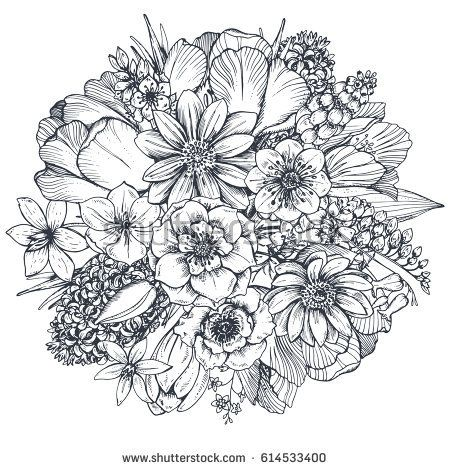 Floral composition. Bouquet with hand drawn spring flowers and plants. Monochrom…