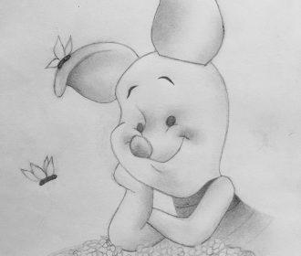 Piglet sketch  . . . . . . . #disney #drawing #doodle #piglet #butterfly