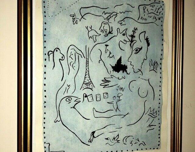 MARC CHAGALL HAND SIGNED PAINTING ORIGINAL VINTAGE ARTWORK (no Picasso,Basquiat)