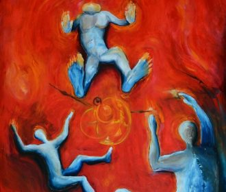 Oil Painting Falling People Red Dream Of Floating Artist Spinello large 45x32x2