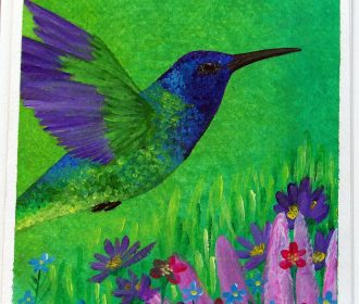 Original Hummingbird Acrylic Painting, Garden, Flowers, Unique Gift