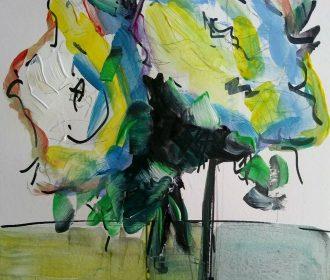 12×9 Original art modern Abstract painting on paperCuban artist JOSE LIMA.