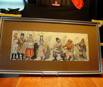Large 18″ Watercolor of Russian People in Native Dress