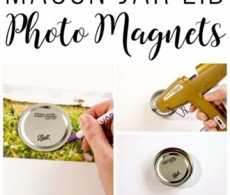 DIY Photo Crafts and Projects for Pictures – Upcycled Mason Jar Photo Lid Magnet…