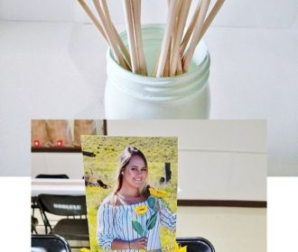 Glue photos to stock paper and sticks and insert into a Rustic Graduation Party …