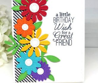 Stamps: LJD Birthday Greetings  Die-namics: Stitched Flowers, Stitched Blooms, A…