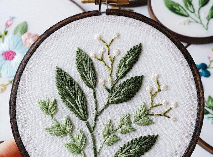 Vancouver-based artist Caitlin Benson (of Cinder & Honey) embroiders vintage-ins…