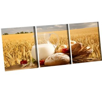 3P Artwork Picture Oil Painting Wheat Bread Canveas Prints for Home Decor