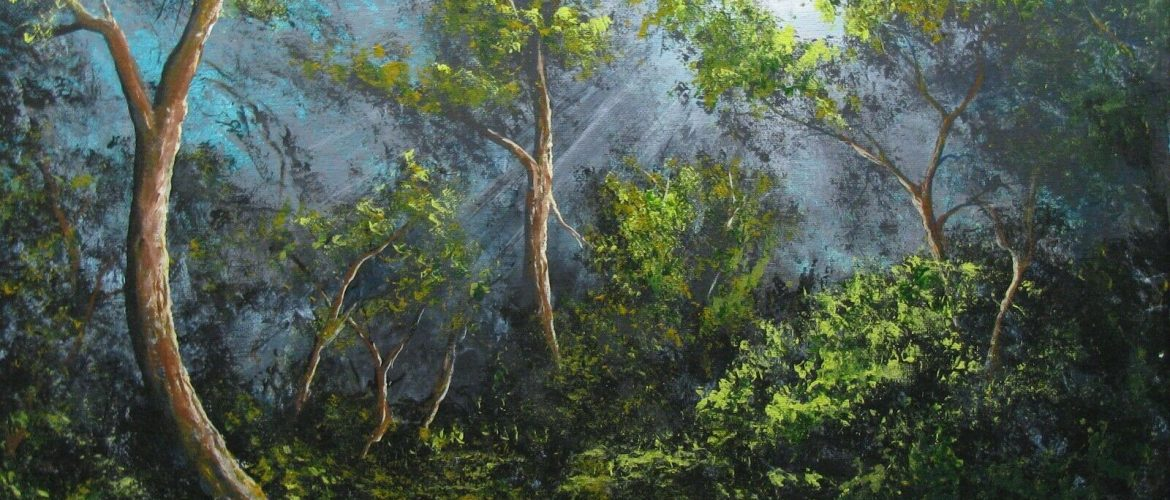 Tropical Florida Impressionist Landscape Painting By S. Prather Free Shipping